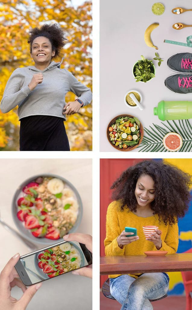 4 boxes showing a woman jogging, showing holistic tools, lady taking picture of food and lady looking at her phone while drinking coffee